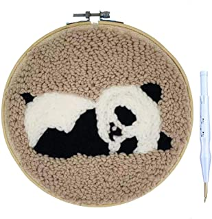Wool Queen Punch Needle Starter Kit | Animal Rug-Punch Beginner Kit, with an Adjustable Embroidery Pen and 8.0'' Bamboo Hoop (Panda)