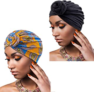 Knemksplanet 2 Packs African Turban Hats-Printing Pattern African Hair Scarves Caps and African Headwraps for Women