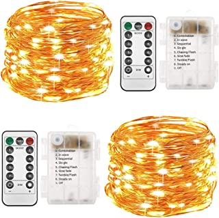 Twinkle Star Set of 2 Fairy String Lights Battery Operated 33ft 100 LEDs Twinkle Firefly Lights with Timer Remote Control, Warm White