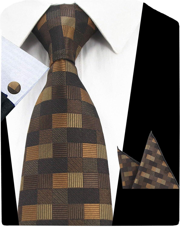 GUSLESON Fashion Plaid Men Tie Set Necktie with Handkerchief and Cufflinks