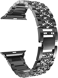 GUAGUA Bling Band Compatible with Apple Watch Band 38mm 40mm iWatch Series 4 5 (40mm) Series 3 2 1 (38mm), Bracelet iWatch Band, Rhinestone Stainless Steel Metal Wristband Strap Black
