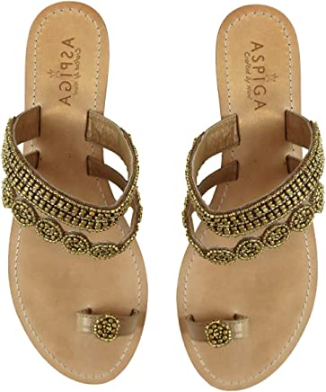 02a4f3c2f51f GlobalHandmade Handcrafted Women Bead Leather Sandals Flat Flip Flops Clip  Toe