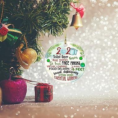 Two-Side Printed 2021 Christmas Ornament Quarantine, 2021 Event Ornament, Commemorative Ornament, Christmas Tree Ornaments Ha