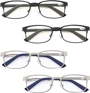 Zienstar 2.75 Reading Glasses Men 4 Pack Metal Rectangle Readers with Spring Hinges Comfort Stainless Steel Material Eyeglasses in Black Silver
