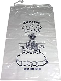 Pinnacle Mercantile 10 lb. Drawstring Ice Bags 100 Pack Heavy-Duty, Puncture-Resistant EVA | Cotton Pull Closure | Disposable, Recyclable | Portable Storage and Freezer Keeper