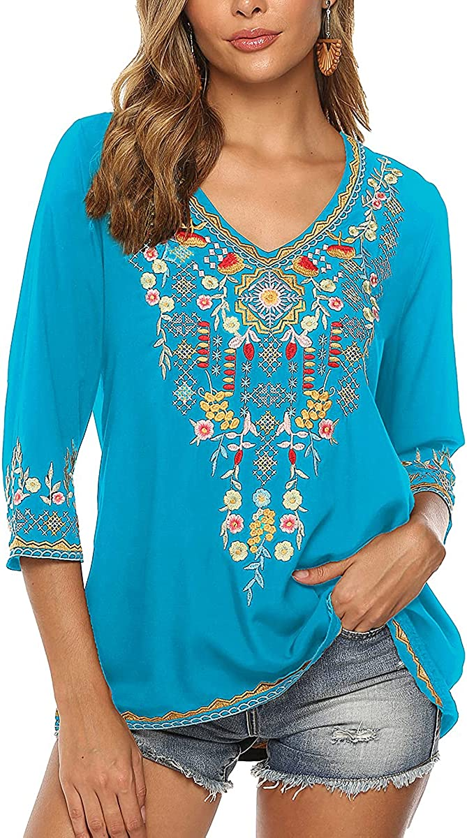 Higustar Women Ranking TOP14 Embroidery Boho Shirt Outlet ☆ Free Shipping Bohemian Sleeve 4 Mexican 3