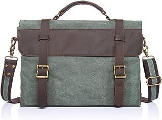 SGJFZD Men's Messenger Bag Retro Leather Shoulder Portable Briefcase Canvas Bag with The First Layer of Crazy Horse (Color : Bronze, Size : M)