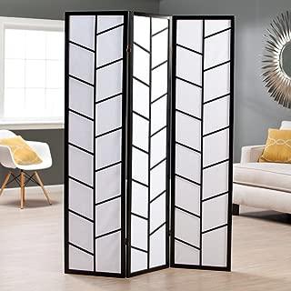 Roundhill Furniture 3-Panel Climbing Screen Room Divider, Black