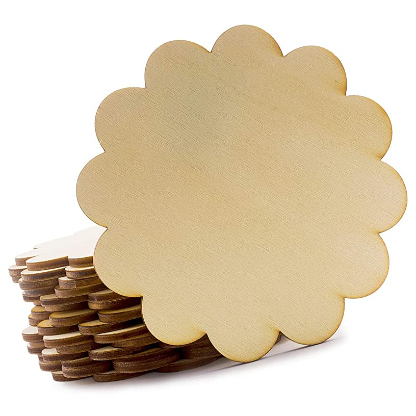 Summer-Ray 24pcs Wooden Scallop Unfinished Coaster for Home, Office, DIY Craft Project