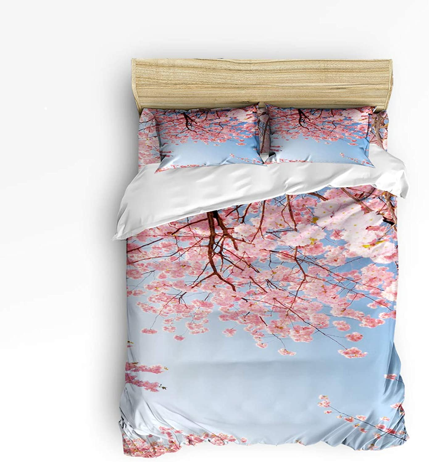 Fandim Fly Bedding Set Twin Size Japanese Style,Pink Cherry Blossoms,Comforter Cover Sets for All Season