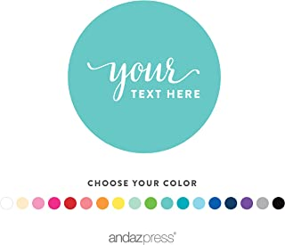 Andaz Press Fully Personalized Collection, Round Circle Gift Label Stickers, Custom Made Any Name, Your Text or Logo Here, 40-Pack, for Presents, Gifts, Favors, Boxes, and Treat Bags