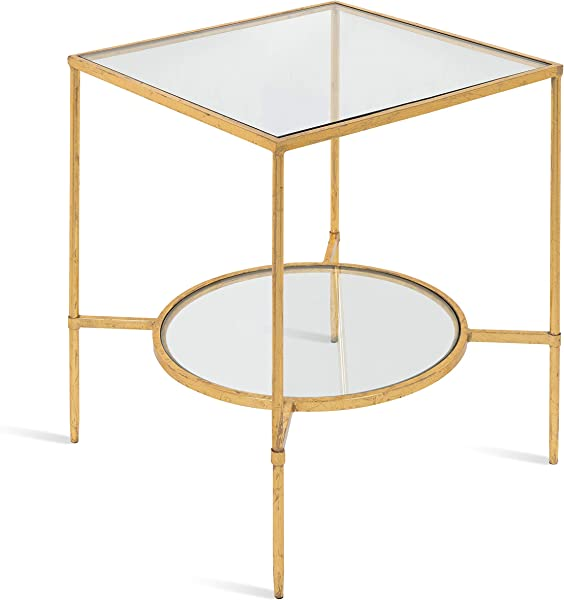 Kate And Laurel Tulare Metal And Glass Side Accent Table With Shelf Gold