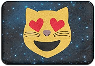 Soft Non-slip Smiling Cat Face With Heart Shaped Eyes Emoji Bath Mat Coral Rug Door Mat Entrance Rug Floor Mats For Front ...