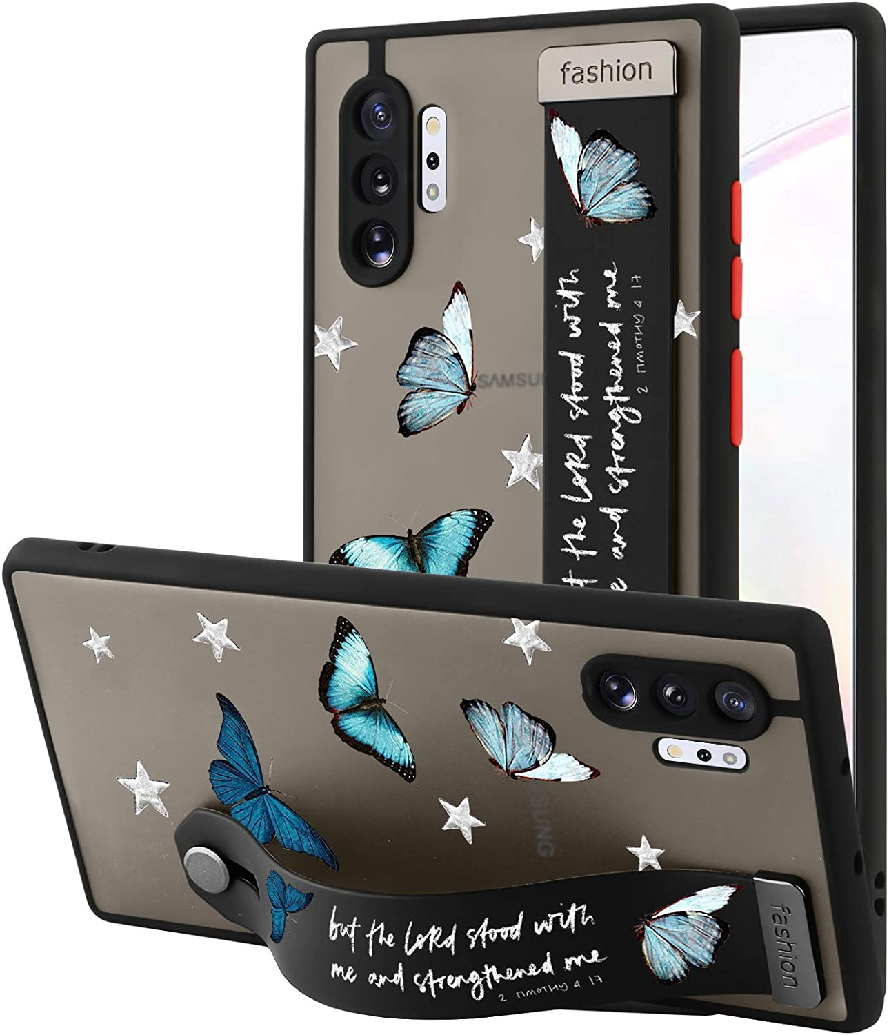 AIGOMARA Samsung Galaxy Note 10 Plus Case with Strap Clear Case Butterflies Quotes Pattern Shockproof Full Body Protection Soft TPU and Hard PC Back Scratch-Resistant Slim Cover for Galaxy Note 10+