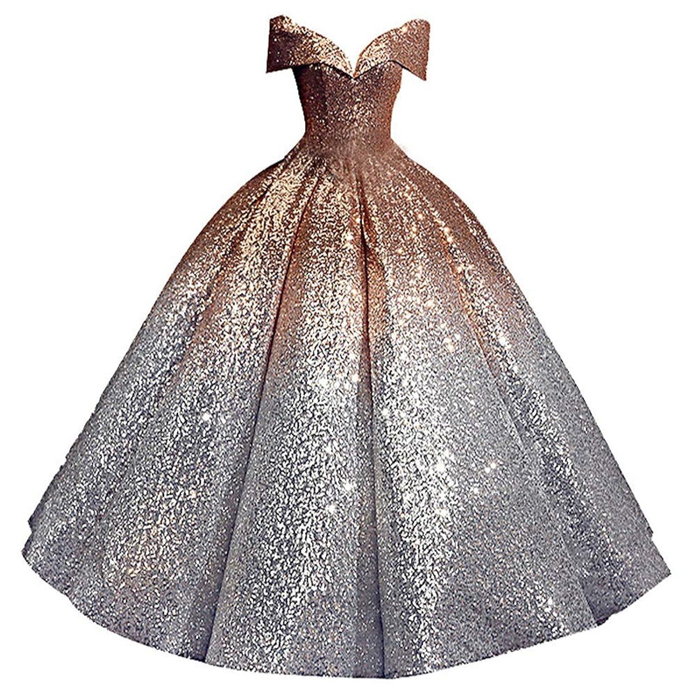 FXSHOP 花嫁のウェディングドレスグラデーションスパンコールPalace Dream Princessウェディングドレス (色 : A)