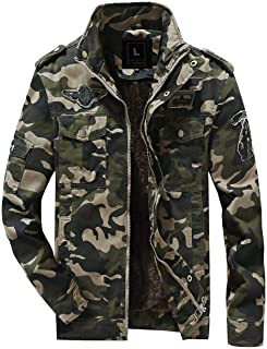 L'monte Imported Jacket for Men Winter Camouflage Military Design Army Style Cotton Casual Slim Fit Stand Collar Coat Latest Fashion (9938 Camouflage)