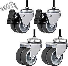 Sywlwxkq Rubber wielen, 4 stuks, meubelwielen met remmen, zwenkwielen, slijtvast, M6/M8/M10, wieg wielen, stil,2 remmen+2 ...
