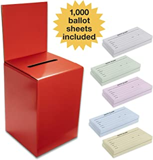 Large Ballot Box/Charity Box/Suggestion Box/Includes 1000 Entry Sheets/Use for raffles, Lead Generation, Collecting Business Cards, Voting, contests, suggestions (Red)