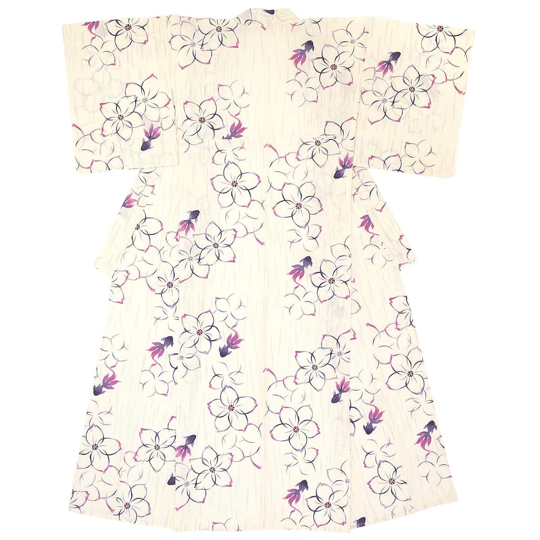 (ソウビエン) 浴衣 レディース 単品 白系 紫 桜 サクラ 花 雨縞 金魚 綿 変わり織 ボヌールセゾン フリーサイズ