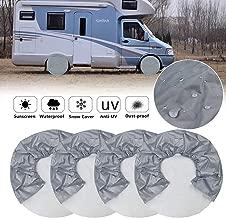 Cubiertas de llantas para ruedas de RV, (Paquete de 4) Cubiertas de ruedas para autocaravanas 420D Oxford, Protector UV de rayos solares para remolque, Camper, Universal Se adapta a diámetros de llant
