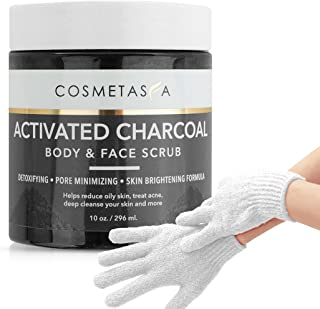 Activated Charcoal Body Face Scrub- with Exfoliating Gloves:: Skin Brightening, Lightening, Exfoliating and Deep Cleansing by Cosmetasa