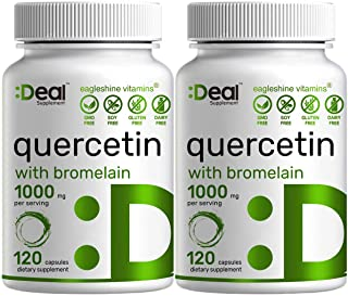 2 Pack Quercetin with Bromelain, Quercetin 500mg Per Capsule, 120 Capsules, Support Healthy Immune Response & Cardiovascul...