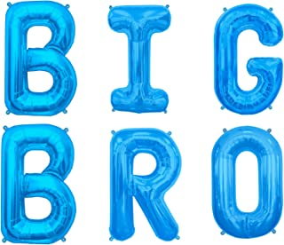 Big Bro & Big Sis 16 inch Mylar Party Letter Balloons. Baby Announcement of Big Brother or Big Sister- Perfect Background Decorations- Gender Reveal Party. by PartyBox! (Blue, Big BRO)