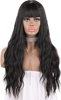 eNilecor Black Wigs, Long Kinky Curly Wavy Cosplay Party Hair Wigs with Bangs Natural Looking Pastel Synthetic Wig for Women 27 inches