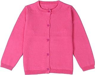 GSVIBK Girls Cotton Cardigan Baby Long Sleeve Button Cardigans Crew Neck Uniform Cardigan Sweaters