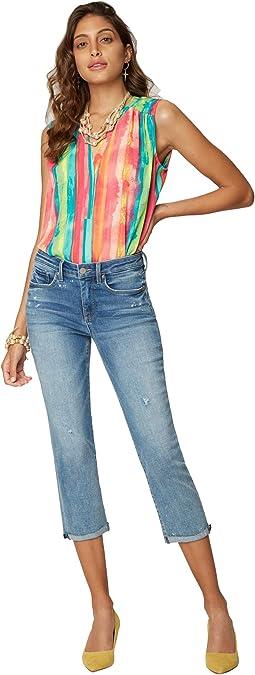 Chloe Capri Jeans with Raw Cuffs  in Sandspur