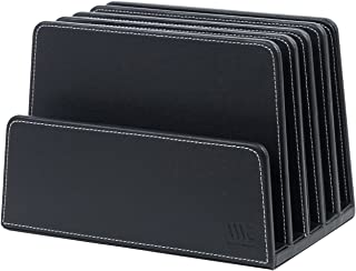 MobileVision Multi Device Stand & Organizer for Smartphones, Tablets and Laptops, Black PU Executive Leather, 5 Slots