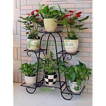 Green Gardenia Iron Plant Stand/Pot Stand (6 Pot Holder Black)