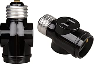 Onite E26 to 2 Outlet Light Socket Splitter Adapter Black, 2-Pack
