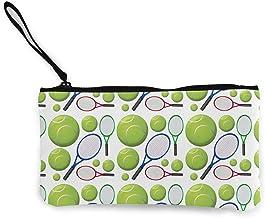 TTmom Carteras de Mujer,Monedero,Girl'S Canvas Coin Case, Zipper Small Purse Wallets, Cellphone Clutch Purse with Wrist Strap Tennis Rackets and Balls Pattern