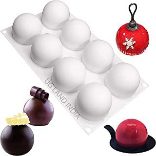 UG LAND INDIA 8 Cavities Truffles Chocolate Globe Sphere Silicone Mold Baking Mold for Making Chocolate, Cake, Jelly, Dome...