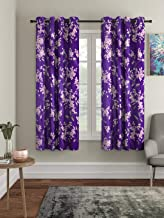 Cortina 2 Piece Eyelet Polyester Window Curtain Set, 5 Feet Fancy Printed Curtains for Your Living Room, Bedroom and More – Purple (150 X 115 cm)