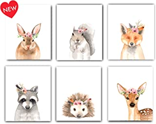 Designs by Maria Inc. Woodland Floral Crown Animals Nursery Decor Watercolor Art Posters   Set of 6 (Unframed) 8x10 Prints