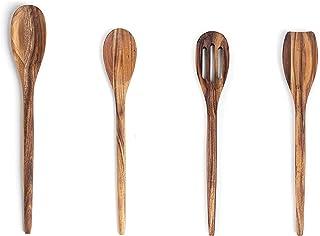 Ironwood Gourmet Acacia Wood Kitchen Utensil Set, Spatula, Slotted, Long and Regular Spoon, 4-Piece, Natural