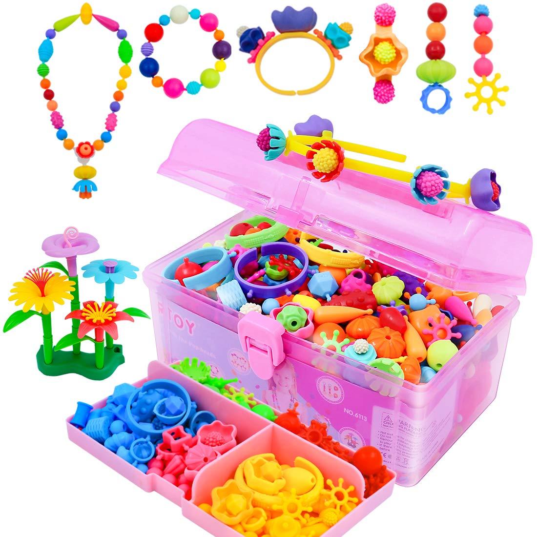 Kids Pop Perles Art /& crafts Kit 650+Pcs À faire soi-même Jewelry Making Kit pour les tout-petits 3 8