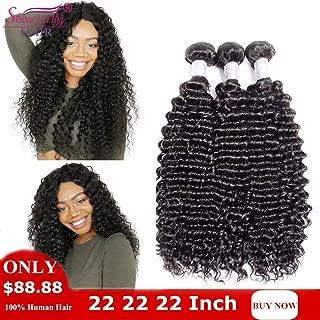 SHOWJARLLY Indian Deep Wave Bundles Grade 8A Unprocessed Raw Virgin Hair 3 Bundles Indian Deep Curly Virgin Hair Weave 100g+5g/Piece (10 12 14inch,Natural Color)