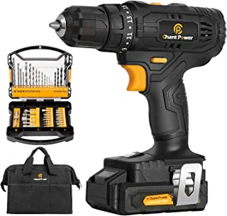 Cordless Drill, 20V Max Lithium-Ion Drill Driver Kit with 2 Variable Speeds, 41pcs Accessories, 15+1 Torque Setting, Buil...
