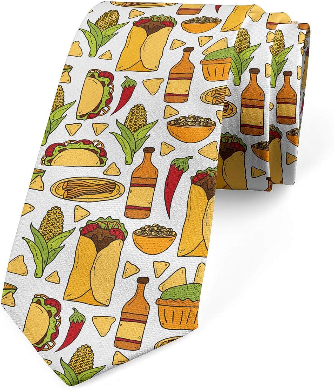 Lunarable Men's Tie, Cuisine of Mexico, Necktie, 3.7