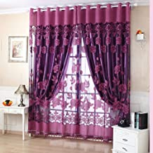 Decdeal 2Pcs Elegant Luxury High-end Floral Pattern Window Curtains with Beads Door Voile Curtain Window Drape Divider Roo...