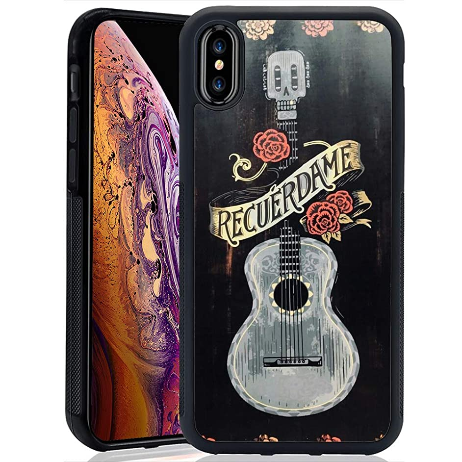 Customized TPU Soft Shockproof Rubber Bumper Protective Black Anti-Skid Tread Skull Guitar Flower Case for iPhone Xs Max
