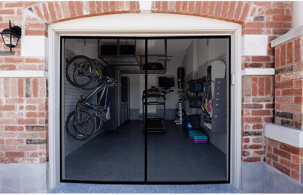Buy Garage Screen Doors For 1 Car Garage 8x7ft Magnetic Closure Heavy Duty Weighted Bottom Screen Self Sealing Fiberglass Mesh Anti Annoying Animals Retractable Net Easy Assembly Pass Through Black Online In Indonesia