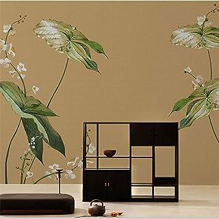 Mural Wallpaper,Chinese Elegant Green Leaves And Flowers Customize 4D Wallpaper Hd Print Art Large Silk Fresco Wall Painti...
