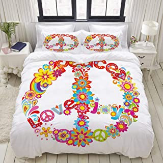 VANKINE 3PC Bedding Set Peace Sign Colorful Flowers Rainbows Love and Joy Festive Composition 1 Duvet Cover with 2 Matching Pillowcases Apartment Bedroom Decor Full/Queen