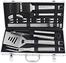 POLIGO 20pcs Barbecue Grill Utensils Kit Stainless Steel BBQ Grill Tools Set - Premium Grill Accessories in Aluminum Case for Camping - Ideal Grilling Set Gifts for Christmas Birthday Presents Dad Men