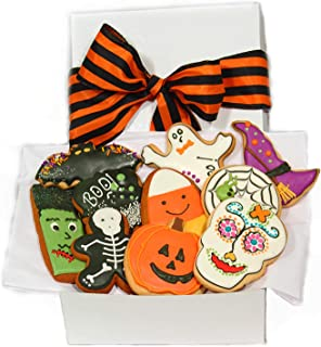 Halloween Cookie Gift Basket 10 Decorated Cookies Gourmet Great Spooky Trick or Treat Gift Idea for Boys Girls Kids Adults Men Women PRIME DELIVERY