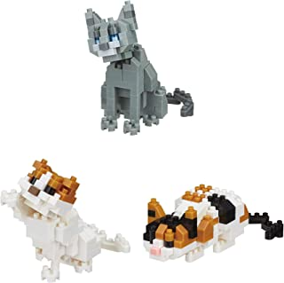 Nanoblocks 3 Cats - Scottish Fold, Russian Blue and Calico Cats Sets (Japan Import)